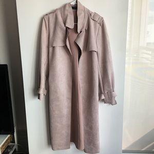 Zara pink velvet trench coat